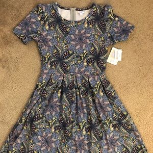 LolaRoe Amelia dress with pockets, pinwheel print